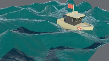 Low-poly boat on simulated water