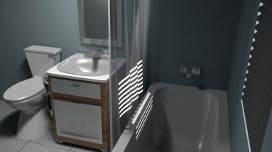 Final render pass of bathroom - right angle