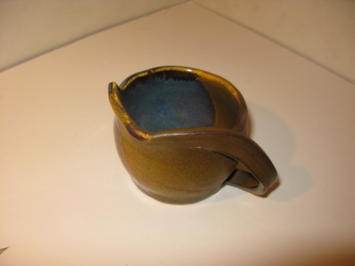 Gravy boat, 50/50 glaze and a handle carved from the rim of the bowl