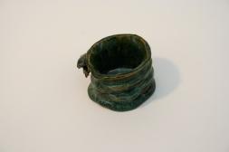 Mug, ocean blue on green