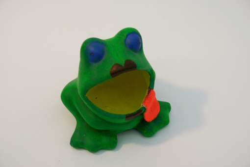 Moulded, acrylic painted frog