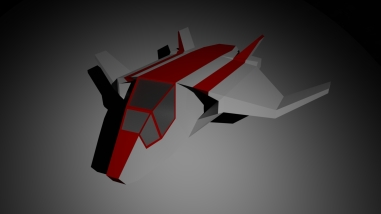 Low-poly design of spaceship for animation