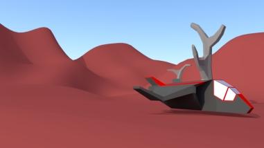 Spaceship on planet
